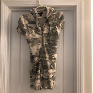 BCBG camouflage hoodie mini dress